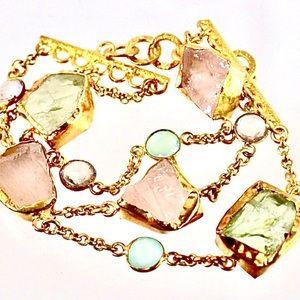 🆕 Gold, Rose Quartz,Teal Chal & Amethyst Bracelet